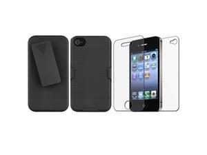 Black Swivel Holster with Stand+Anti-Glare LCD Film compatible with VERIZON iPhone® 4 G GS 4S
