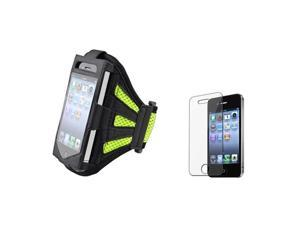 Black/Green Sportband Armband Skin Case Cover+LCD Film Pro Compatible With iPhone® 4 4th 4S