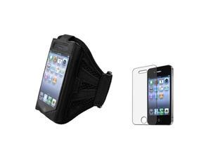 Armband Sportband Black Case+Anti Glare Screen Protector Compatible With iPhone® 4 4S