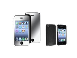 Black Aluminum HARD CASE+MIRROR FILM Compatible With iPhone® 4 4S 4G 4GS 4th