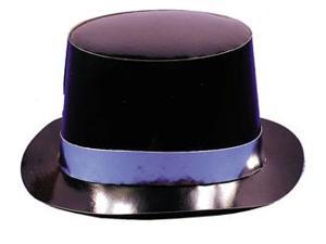 Black Foil Hi-Hat w/Silver Band Party Accessory (1 count)