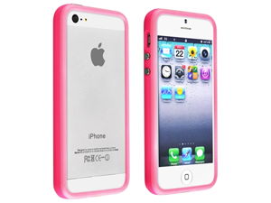 Apple iPhone 5/5S Case, eForCity TPU Rubber Candy Skin [Anti-Shock] Bumper Case Cover for Apple iPhone 5/5S, Hot Pink
