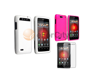 2x Pink+White Rubberized Hard Case+LCD Pro Guard compatible with Motorola Droid 4 XT894