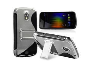TPU Rubber Skin Case with Stand compatible with Samsung© Galaxy Nexus i9250, Black S Shape