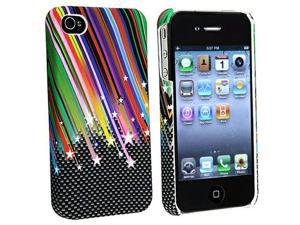 eForCity Slim Fit Snap-On Rubber Coated Case Compatible With Apple iPhone 4, Rainbow Star