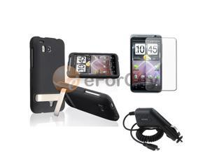 Black Rubber Hard Case Cover+LCD Protector+Car Charger compatible with HTC ThunderBolt 4G