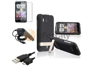 compatible with HTC ThunderBolt 4G Black Hard Case+LCD+USB+Charger
