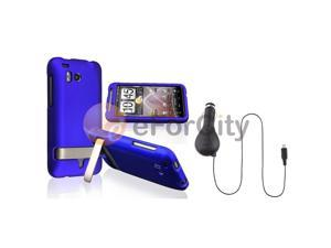 Snap-on Case+Car Charger compatible with HTC ThunderBolt 4G Blue