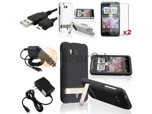 Black+White Rubber Hard Case+2 LCD SP+2 Charger+USB Cable compatible with HTC ThunderBolt 4G