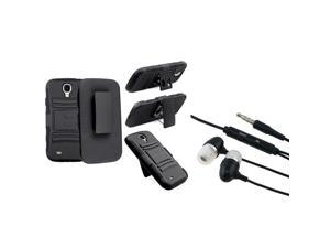 eForCity Black Skin / Black Hard Hybrid Holster with Stand Case with FREE Black In-ear (w/on-off) & Mic Stereo Headsets Compatible ...