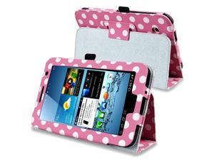 eForCity Leather Case with Stand Compatible with Samsung Galaxy Tab 2 7.0/ P3100/ P3110, Pink/ White Polka