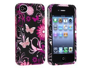 eForCity Snap-On Rubber Coated Case Compatible With Apple iPhone 4 / 4S, Pink / Black Butterfly