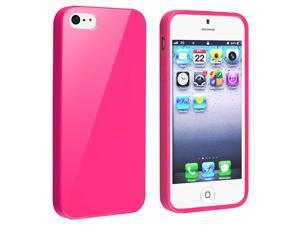 eForCity iPhone 5 / 5S  Case Cover - TPU Rubber Skin Case For Apple iPhone 5 / 5S , Hot Pink Jelly