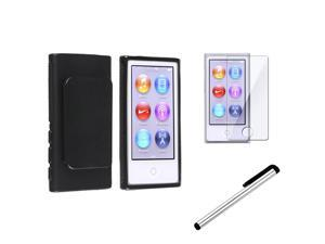 eForCity Black TPU Rubber Skin Case with Belt Clip + Reusable Screen Protector + Silver Universal Touch Screen Stylus Bundle ...