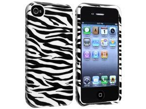 eForCity Snap-On Case Compatible With Apple iPhone 4 / 4S / White / Black Zebra