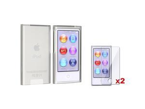 eForCity Frost Clear White TPU Rubber Skin Case + 2X Reusable Screen Protector Bundle Compatible With Apple® iPod Nano 7th ...