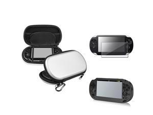 eForCity Black Aluminum Case + Reusable Screen Protector + Silver Eva Case Bundle Compatible With Sony Playstation Vita