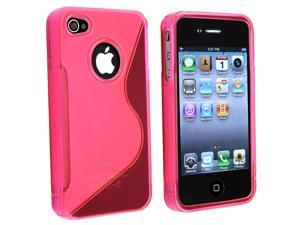 Apple AT/VER iPhone 4 TPU Case , Clear Hot Pink S Shape
