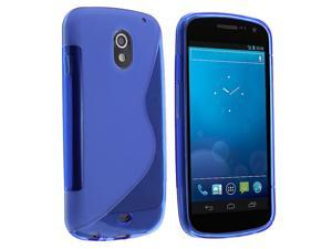 TPU Rubber Skin Case compatible with Samsung© Galaxy Nexus i515, Frost Blue S Shape