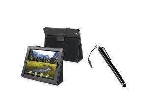Black Leather Case w/ touch screen stylus compatible with Apple® The new iPad /ipad 4 / iPad with Retina display