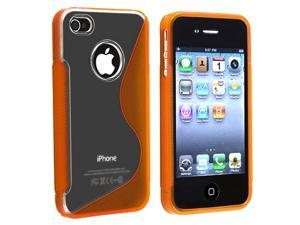 eForCity TPU Rubber Skin Case Compatible With Apple® iPhone 4 / 4S , Clear / Frost Orange S Shape