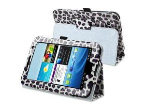 eForCity Leather Case Cover with Stand Compatible with Samsung Galaxy Tab 2 7.0 P3100/ P3110/ P3113, White/ Purple Leopard