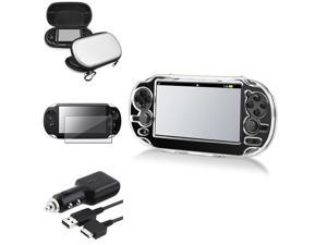eForCity Silver Hard EVA Case Bag + Film Guard + Crystal Case + Car Charger For Sony PS Vita