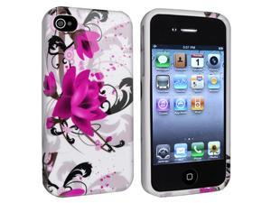 Apple iPhone 4/4S TPU Case , White/Purple Flower