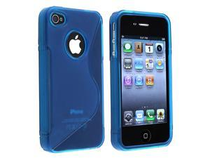 Apple AT/VER iPhone 4 TPU Case , Clear Dark Blue S Shape