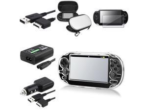 eForCity Clear Snap-on Crystal Case + Reusable Screen Protector + AC Adapter Bundle Compatible With Sony Playstation Vita