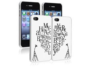 """eForCity Valentine's Day Gifts - Clip on Case Compatible With Apple® iPhone 4/4S, White with """"My Heart Belongs to You"""" Rear ..."""