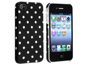 eForCity White Polka Dots Black Hard Case Cover Compatible With iPhone 4 4G