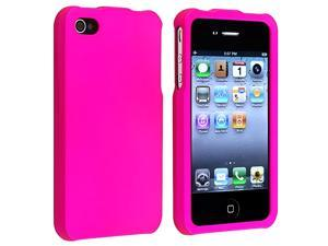eForCity Snap-On Rubber Coated Case Compatible With Apple iPhone 4 / 4S, Hot Pink