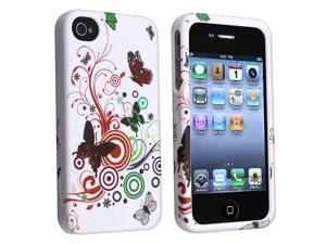 eForCity Snap-On Rubber Coated Case Compatible With Apple iPhone 4 / 4S, White Autumn Flower
