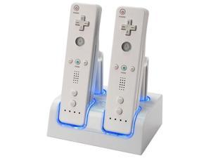 For Wii Remote Dual Charger + 4 Rechargeable Battery