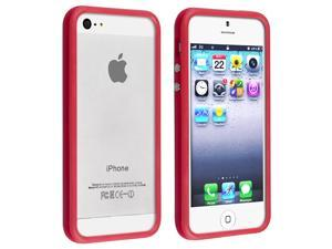 Apple iPhone 5/5S Case, eForCity TPU Rubber Candy Skin [Anti-Shock] Bumper Case Cover for Apple iPhone 5/5S, Red