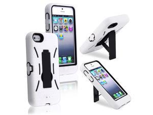 Apple iPhone 5/5S Case, eForCity Symbiosis Dual Layer [Shock Absorbing] Protection Hybrid Stand Rubber Silicone/PC Case Cover ...