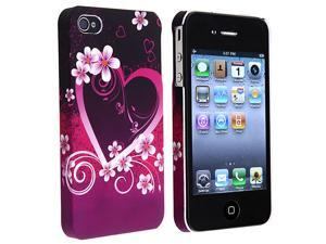 eForCity Snap-On Rubber Coated Case Compatible With Apple iPhone 4 / 4S, Dark Purple Heart With Flower Rear