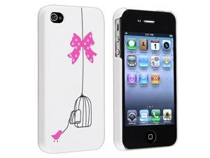 eForCity Snap-On Rubber Coated Case Compatible With Apple iPhone 4 / 4S, White / Bird Cage