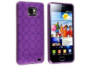 eForCity TPU Rubber Skin Case Compatible With Samsung© Galaxy S II i9100, Purple Circle