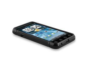 TPU Rubber Skin Case compatible with HTC EVO 3D, Frost Black S Shape