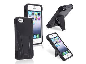 eForCity Hybrid Case with stand Compatible with Apple® iPhone 5/5S, Black / Black Frame