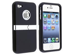 Snap-on Case compatible with Apple® iPhone® 4 AT&T/ Verizon, Black with Chrome Stand