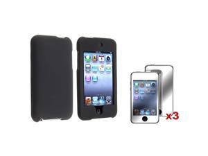 eForCity Black Snap-on Rubber Coated Case + 3X Mirror Screen Protector Bundle Compatible With Apple® iPod Touch 2nd Generation, ...