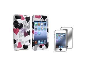 Pink & Black Heart Rubber Coated Case + Mirror Screen Protector Compatible with Apple® iPod touch 2nd / 3rd Generation