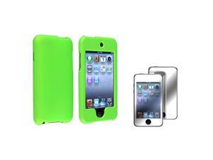 Green Rubber Coated Case + Mirror Screen Protector Compatible with Apple® iPod touch 2nd / 3rd Generation