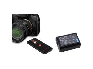 eForCity Black IR Remote Control + 2X Black Li-Ion Battery Bundle Compatible With Sony Alpha NEX-5, SLT-A33, SLT-A55