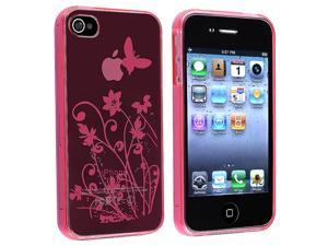 eForCity TPU Rubber Skin Case Compatible With Apple® iPhone 4/4S AT&T / Verizon, Clear Hot Pink Flower with Butterfly