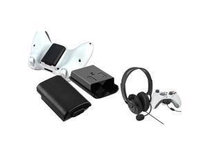 eForCity 2X Black Wireless Controller Battery Pack Shell + Black Headset with Microphone Bundle Compatible With Microsoft ...