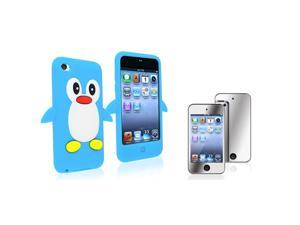 eForCity Hot Blue Penguin Silicone Skin Case + 2X Mirror Screen Protector Bundle Compatible With Apple® iPod Touch 4th Generation